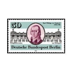 1 عدد تمبر 250مین سالگرد تولد کارل فیلیپ فون گونتارد - معمار - برلین آلمان 1981