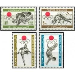 4 عدد تمبر بازیهای المپیک - توکیو ، ژاپن - افغانستان 1964