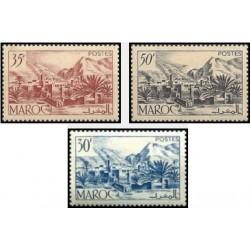 3 عدد تمبر سری پستی - دره توردا - مراکش 1950 با شارنیه
