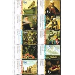 10 عدد تمبر نقاشیهای هلندی قرن هفدهم - هلند 1999