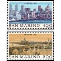 2 عدد تمبر شهرهای جهان - لندن - سان مارینو 1980