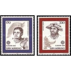2 عدد تمبر مشترک اروپا - Europa Cept - شخصیتها - سان مارینو 1980
