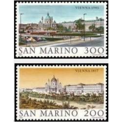 2 عدد تمبر شهرهای جهان - وین - سان مارینو 1981