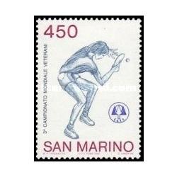 1 عدد تمبر مسابقات قهرمانی جهانی تنیس روی میز ، ریمینی - سان مارینو 1986
