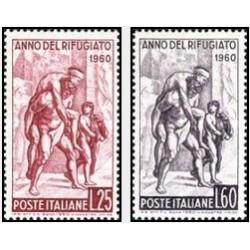 2 عدد تمبر سال جهانی پناهندگان - ایتالیا 1960