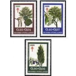 3 عدد تمبر پیشگیری از بیماری سل - درختان - فنلاند 1969