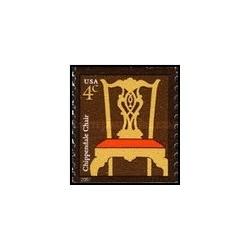 1 عدد تمبر طراحی آمریکایی - صندلی چیپندیل - تمبر کویل خودچسب - آمریکا 2007