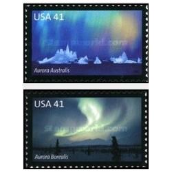 2 عدد تمبر روشنایی قطبی - خودچسب - آمریکا 2007