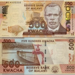 اسکناس 500 کواچا - مالاوی 2012 بدون علائم ویژه نابینایان در سمت چپ پائین روی اسکناس