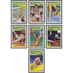 7 عدد تمبر پست هوایی - بازیهای المپیک - بارسلونا ، اسپانیا 1992 - نیکاراگوئه 1989