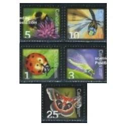 5 عدد تمبر حشرات - کانادا 2007