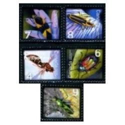 5 عدد تمبر حشرات - کانادا 2010