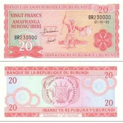 اسکناس 20 فرانک - بروندی 1989