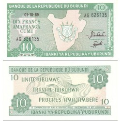اسکناس 10 فرانک - بروندی 1989
