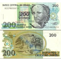 اسکناس سورشارژ 200 کروزرو - برزیل 1990