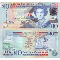 اسکناس 10 دلار - تصویر ملکه الیزابت دوم - کارائیب شرقی 2008