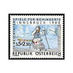 1 عدد تمبر بازیهای المپیک زمستانی ویژه - اینسبورک ، اتریش - اتریش 1988