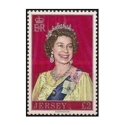 1 عدد تمبر یادبود ملکه الیزابت دوم - جرسی 1977 قیمت 5.3 دلار - روی تمبر 2 پوند