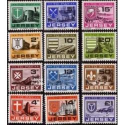 12 عدد تمبر سری پستی - کسر هزینه پستی - جرسی 1978