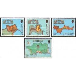 4 عدد تمبر قلعه قدیمی - جرسی 1980