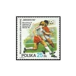 1 عدد تمبر جام جهانی فوتبال مکزیک - لهستان 1986