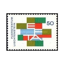 1 عدد تمبر لغو محدودیتهای گمرکی اعضا انجمن تجارت آزاد اروپا EFTA - لیختنشتاین 1967
