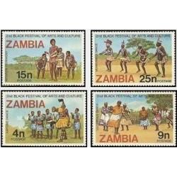 4 عدد تمبر دومین جشنواره فرهنگ و هنر آفریقایی - لاگوس ، نیجریه - زامبیا 1977