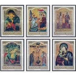 6 عدد تمبر شمایل های قرون وسطی - تابلو نقاشی - یوگوسلاوی 1968