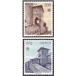 2 عدد تمبر مشترک اروپا - Europa Cept - بناهای یادبود - سان مارینو 1978
