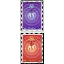 2 عدد تمبر روز جهانی ارتباطات - سالگرد الحاق سان مارینو به اتحادیه بین الملل مخابرات - سان مارینو 1978