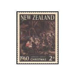 1 عدد تمبر کریسمس - تابلو نقاشی - نیوزلند 1960