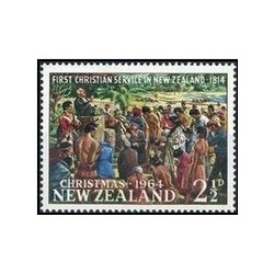 1 عدد تمبر کریسمس - تابلو نقاشی - نیوزلند 1964