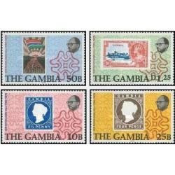 4 عدد تمبر صدمین سالگرد مرگ سر رولند هیل - گامبیا 1979