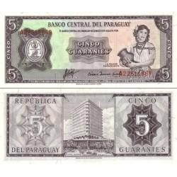اسکناس 5 گورانی - پاراگوئه 1963 سریال در بالا چپ و پائین راست