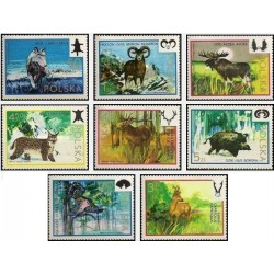 8 عدد تمبر حیات وحش - لهستان 1973