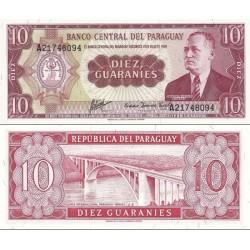 اسکناس 10 گورانی - پاراگوئه 1963 سریال در بالا چپ و پائین راست
