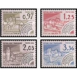 4 عدد تمبر بناهای تاریخی - فرانسه 1982