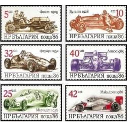 6 عدد تمبرماشینهای مسابقه - بلغارستان 1986