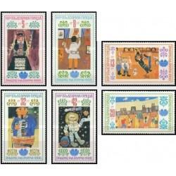 6 عدد تمبر نقاشیهای کودکان - بلغارستان 1988