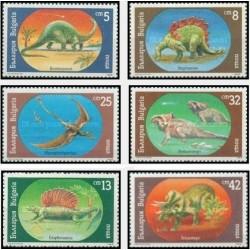 6 عدد تمبر جانداران ماقبل تاریخ - دایناسورها - بلغارستان 1990