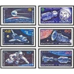 6 عدد تمبر اکتشافات فضائی - بلغارستان 1990