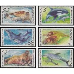 6 عدد تمبر پستانداران دریائی - بلغارستان 1991