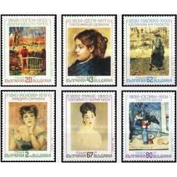 6 عدد تمبر تابلو نقاشی ایمپرسیونیست - بلغارستان 1991