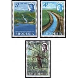 3 عدد تمبر حفاظت از آب - زئیر - رودزیا 1965