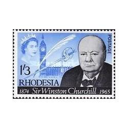 1 عدد تمبر یادبود وینستون چرچیل - زئیر - رودزیا 1965