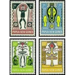4 عدد تمبر فولکلور - هنر الما - پاپوا گینه نو 1966