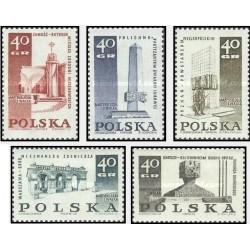 5 عدد تمبر بناهای یادبود قربانیان جنگ جهانی دوم - لهستان 1968