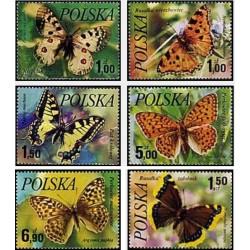 6 عدد تمبر پروانه ها - لهستان 1977