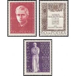 3 عدد تمبر یادبود صدمین سال تولد ماری کوری - لهستان 1967