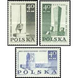 3 عدد تمبر بناهای یادبود قربانیان جنگ جهانی دوم  - لهستان 1967